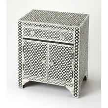 See Details - This alluring accent chest is certain to be the focal point in a living room, bedroom or entryway. Expertly crafted from merranti wood solids and wood products, it features gorgeous mother of pearl inlays in a Moroccan quatrefoil pattern against a black resin background. For function, there is a drawer and lower storage cabinet with clear acrylic pulls.