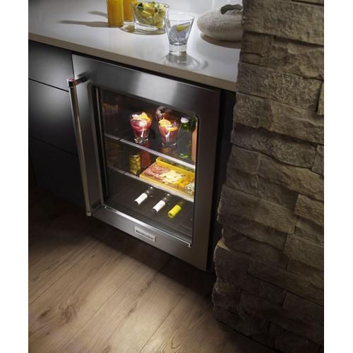 """KitchenAid - 24"""" Undercounter Refrigerator with Glass Door and Metal Trim Shelves Stainless Steel"""
