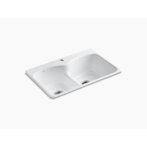 """Biscuit 33"""" X 22"""" X 9-5/8"""" Top-mount Smart Divide Double-equal Kitchen Sink With Single Faucet Hole"""