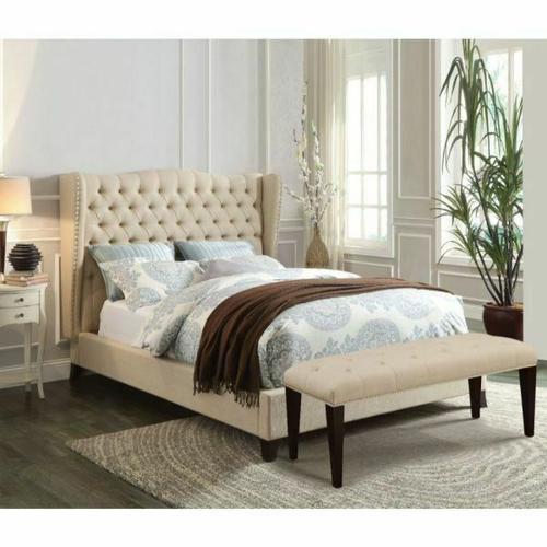 ACME Faye Full Bed - 20655AF - Beige Linen & Espresso