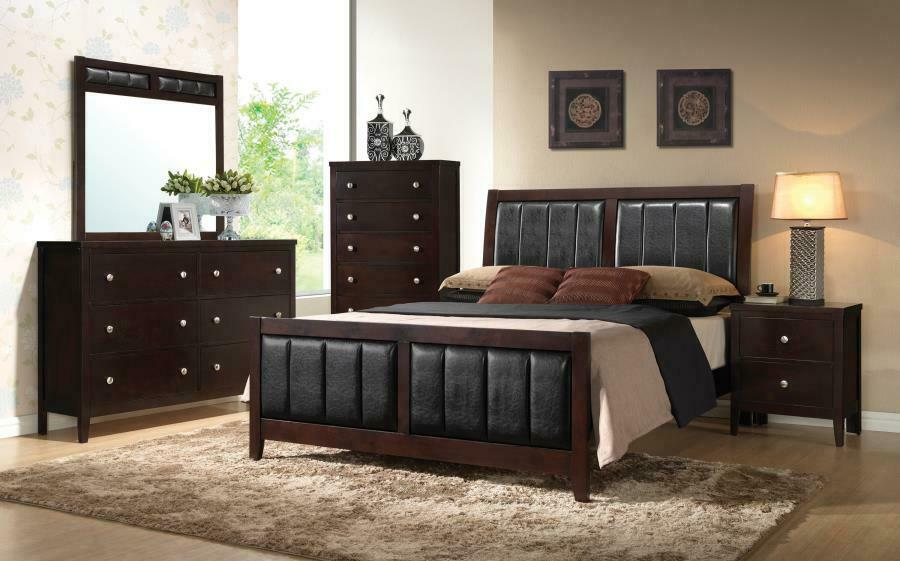 Carlton Cappuccino Upholstered Queen Five-piece Bedroom Set
