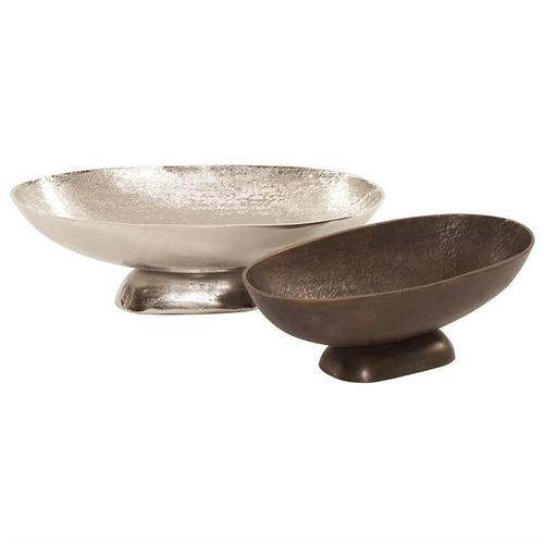 Howard Elliott - Textured Footed Bowl in Bright Silver, Large