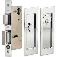 Pocket Door Lock with Modern Rectangular Trim featuring Turnpiece and Keyed Entry. in (US26 Polished Chrome Plated)