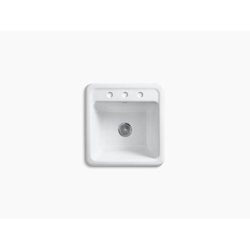 """White 21"""" X 22"""" X13-3/4"""" Top-mount/undermount Utility Sink With 3 Faucet Holes"""