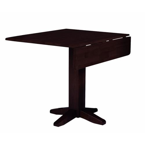 Square Dropleaf Pedestal Table in Rich Mocha