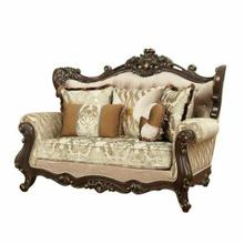 ACME Shalisa Loveseat w/5 Pillows - 51051 - Fabric & Walnut