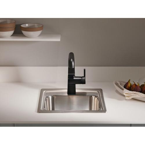 "15"" X 15"" X 7-11/16"" Top-mount Bar Sink With Single Faucet Hole"