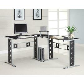 See Details - Casual Black and Silver Computer Desk