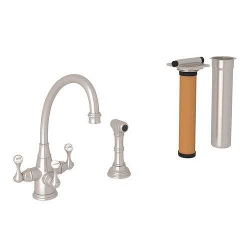 Satin Nickel Perrin & Rowe Georgian Era Filtration 3-Lever Kitchen Faucet With Sidespray with Etruscan Metal Lever