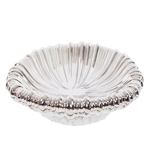 Howard Elliott - Metallic Silver Ribbed Ceramic Tray
