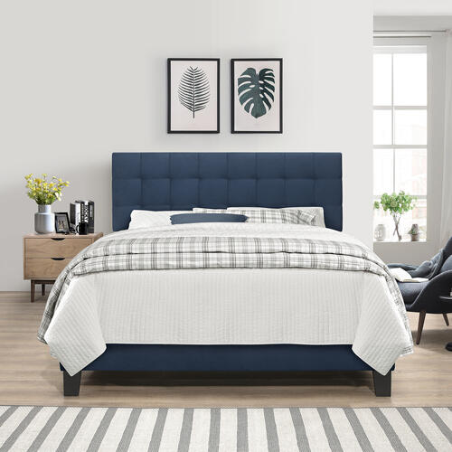 Delaney Upholstered King Bed, Blue Velvet