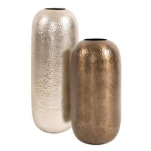 View Product - Oversized Metal Cylinder Vase with Hammered Deep Bronze Finish, Small