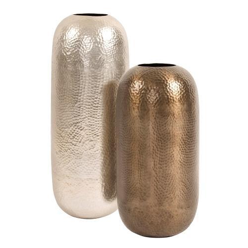 Howard Elliott - Oversized Metal Cylinder Vase with Hammered Deep Bronze Finish, Small
