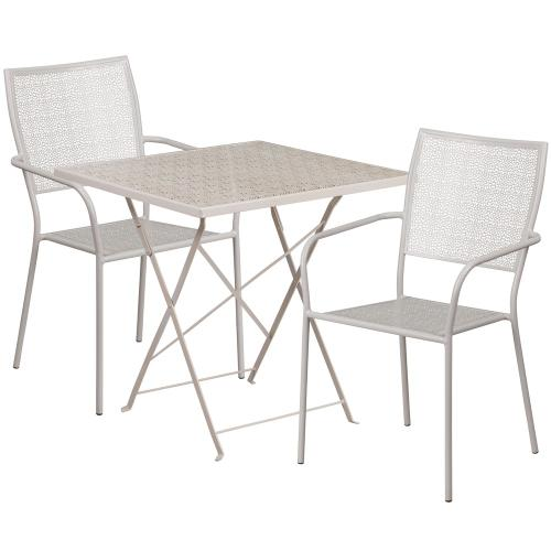 28'' Square Light Gray Indoor-Outdoor Steel Folding Patio Table Set with 2 Square Back Chairs