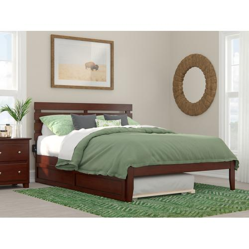 Oxford Queen Bed with USB Turbo Charger and Twin Extra Long Trundle in Walnut