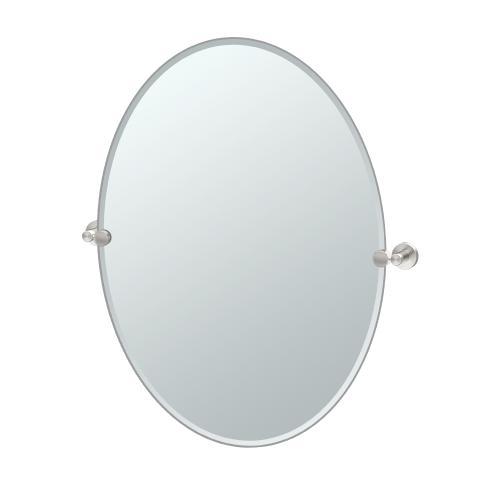 Glam Oval Mirror in Satin Nickel