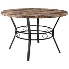 "47"" Round Dining Table in Swirled Marble-Like Finish"