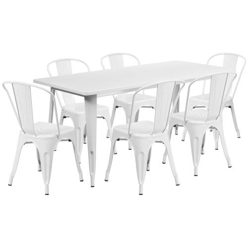 31.5'' x 63'' Rectangular White Metal Indoor-Outdoor Table Set with 6 Stack Chairs