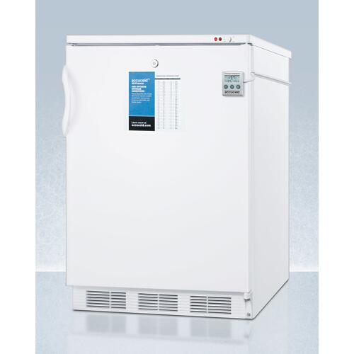 """Commercially Approved 24"""" Wide All-freezer for Built-in Use, Manual Defrost With A Nist Calibrated Thermometer, Lock, and -25 c Capability"""