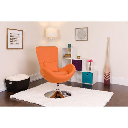 Orange Fabric Side Reception Chair