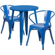 24'' Round Blue Metal Indoor-Outdoor Table Set with 2 Arm Chairs