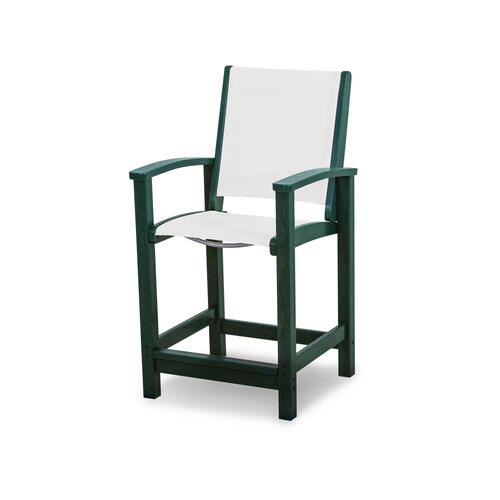 Green & White Coastal Counter Chair