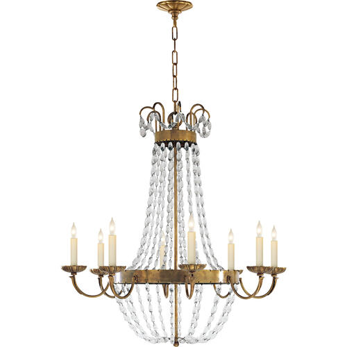 Visual Comfort - E F Chapman Paris Flea Market 8 Light 32 inch Antique-Burnished Brass Chandelier Ceiling Light