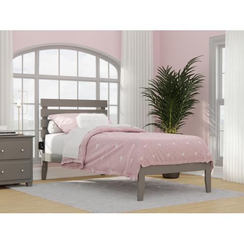 Oxford Twin Extra Long Bed with USB Turbo Charger in Grey