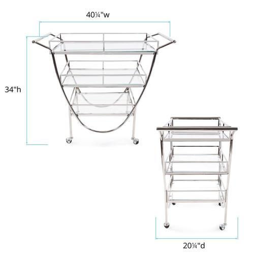 Howard Elliott - Stainless Steel Bar Cart on Castors