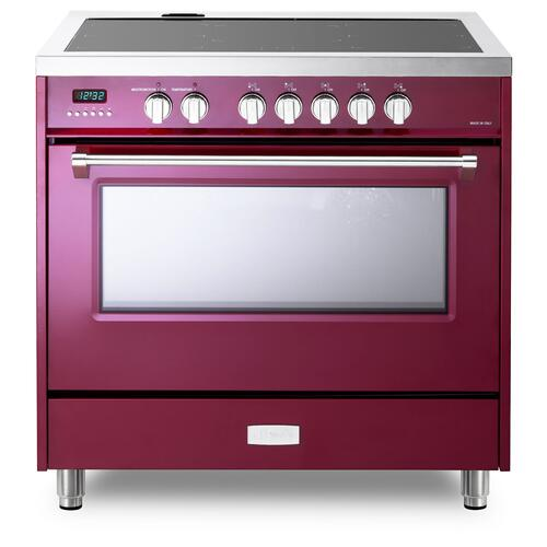 "Burgundy 36"" Designer Induction Range"