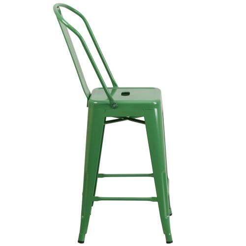24'' High Green Metal Indoor-Outdoor Counter Height Stool with Back