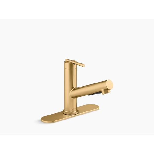 Vibrant Brushed Moderne Brass Pull-out Single-handle Kitchen Faucet