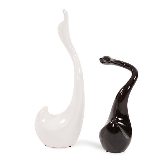 Black and White Intertwined Swan Sculpture