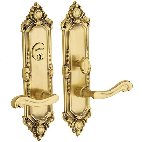 Satin Brass and Brown Westminster Escutcheon Entrance Set