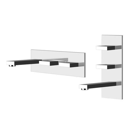 """Gessi - TRIM PARTS ONLY Wall-mounted washbasin mixer trim Spout projection 7-7/8"""" Vertical or horizontal application Drain not includ ed - See DRAINS section Requires in-wall rough valve 26589 Max flow rate 1"""