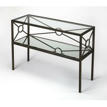 A great addition to the living room or den area. This rectangular console table is crafted from Iron and various other wood products. The tempered glass top and beveled mirrored glass bottom shelves are held together by numerous X-shaped metal bars with an open circle in the middle. The subtle gold framing on the black iron gives this transitional piece an elegant traditional look.