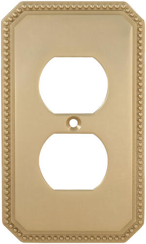 Duplex Receptacle Beaded Switchplate in (US3 Polished Brass, Lacquered) Product Image