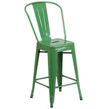 See Details - 24'' High Green Metal Indoor-Outdoor Counter Height Stool with Back