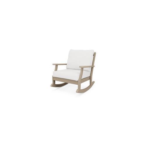 Polywood Furnishings - Braxton Deep Seating Rocking Chair in Vintage Sahara / Natural Linen