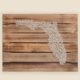 Florida String Art on Wood Wall Hanging