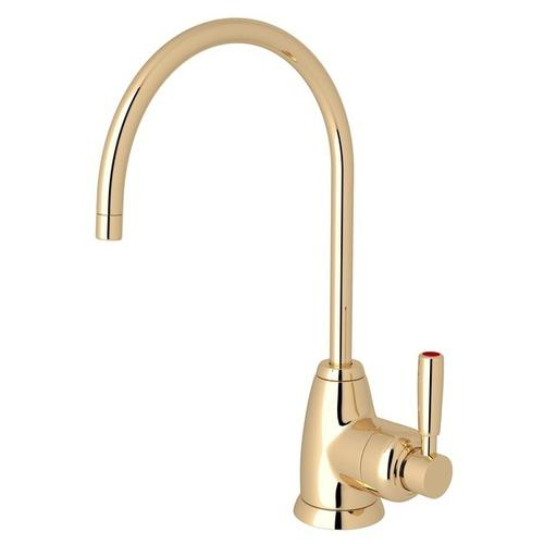 English Gold Perrin & Rowe Holborn C-Spout Hot Water Faucet with Contemporary Metal Lever