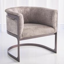 See Details - Regan Barrel Chair w/Grey Hair-on-Hide-Antique Gunmetal