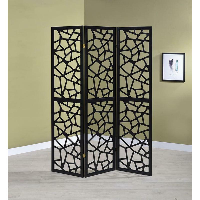 View Product - Transitional Black Three-panel Screen
