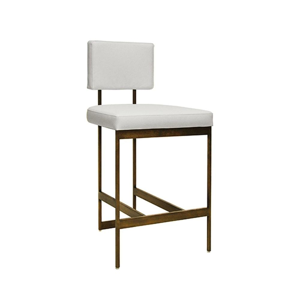 The Clean Lines and Simple Geometry of Our Baylor Counter Height Stool Are Inspired By Early European Modernists. A Versatile White Vinyl Cushion Pairs In Elegant Contrast To the Painted Bronze Base. Sturdy Back Handle Incorporated Into the Metal Frame for Easy Portability.