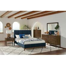 Charity Blue Upholstered Queen Bed