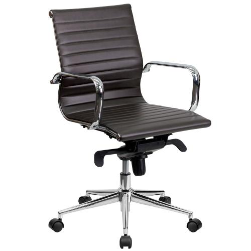 Mid-Back Brown Ribbed Leather Swivel Conference Chair with Knee-Tilt Control and Arms