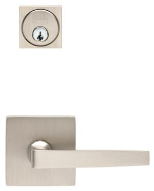 Square Rose Exterior Modern Mortise Entrance Lever Lockset in (Square Rose Exterior Modern Mortise Entrance Lever Lockset - Solid Brass) Product Image