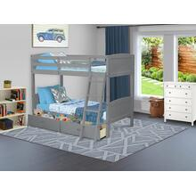 West Furniture Albury Twin Bunk Bed in Gray Finish with Under Drawer