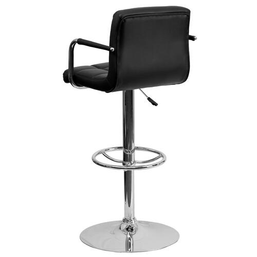 Alamont Furniture - Contemporary Black Quilted Vinyl Adjustable Height Barstool with Arms and Chrome Base