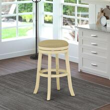 "Devers Swivel Backless Barstool 30"" Seat Height With Linen White Leg And F12-02 Pu Leather Sandalwood Color"